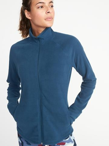 Old Navy Womens Semi-fitted Full-zip Performance Fleece Jacket For Women Victorian Blue Size Xl