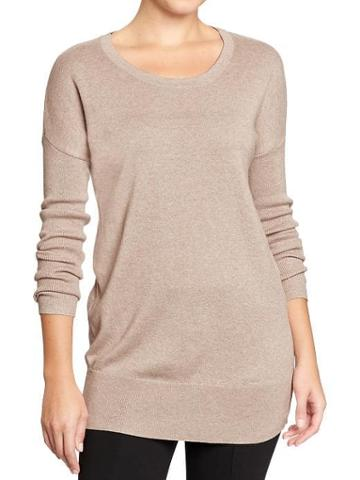 Old Navy Womens Scoop Neck Sweater Tunics - Light Taupe Brown