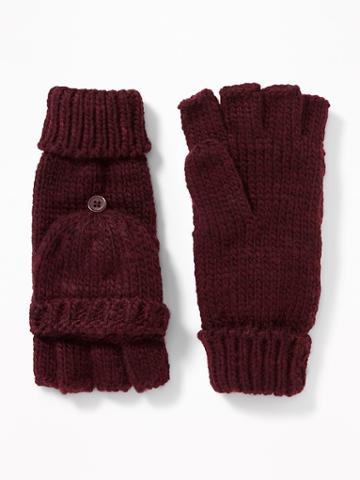Old Navy Womens Convertible Flip-top Gloves For Women Winter Wine Size One Size