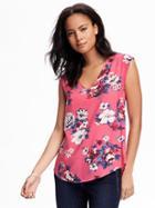 Old Navy Vneck Hi Lo Blouse For Women - Pink Floral