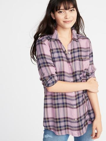 Old Navy Womens Relaxed Classic Soft-brushed Twill Shirt For Women Purple Plaid Size S