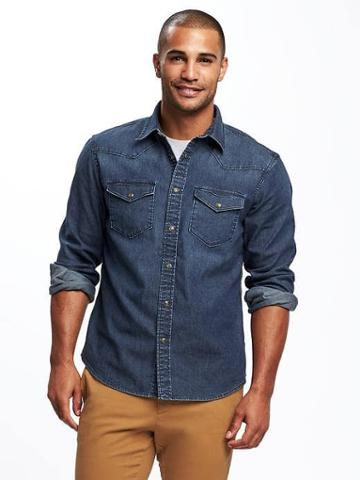 Old Navy Slim Fit Chambray Stretch Shirt For Men - Dark Denim