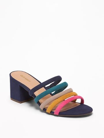 Strappy Sueded Block-heel Mules For Women
