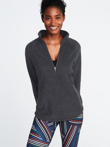 Old Navy Womens Micro Performance Fleece 1/4-zip Pullover For Women Charcoal Heather Size M