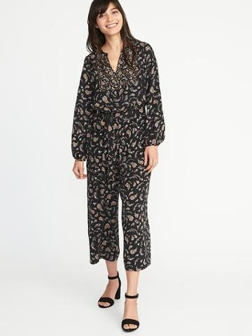 Old Navy Womens Floral-paisley Tie-belt Jumpsuit For Women Black Paisley Size Xs