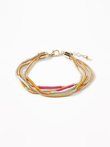 Thread-wrapped Gold-toned Chain Bracelet For Women