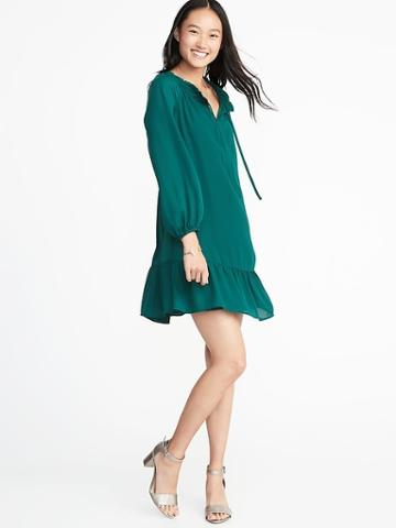 Old Navy Womens Ruffled Georgette Swing Dress For Women Botanical Green Size Xs