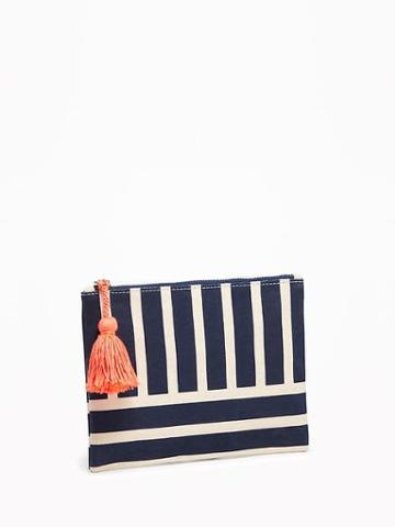 Old Navy Printed Cosmetic Bag - Blue Stripe