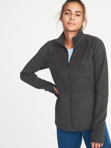Old Navy Womens Semi-fitted Full-zip Performance Fleece Jacket For Women Coal Smoke Size S