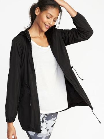 Old Navy Womens Go-h2o Water-resistant Hooded Anorak For Women Black Size L