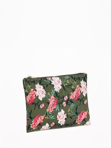 Printed Canvas Zip-top Cosmetic Bag For Women