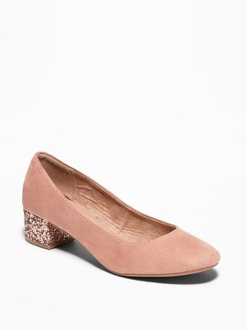 Old Navy Womens Faux-suede Block Heels For Women Blush Size 7