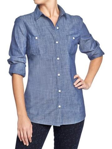 Old Navy Old Navy Womens Classic Chambray Shirts - Dark Chambray