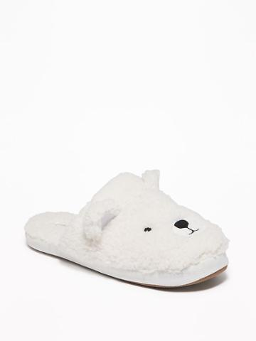 Old Navy Womens Sherpa Critter Slide Slippers For Women Polar Bear Size 6/7