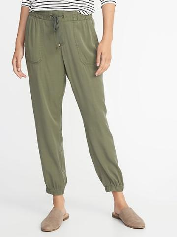 Old Navy Womens Mid-rise Soft Twill Utility Joggers For Women Arugula Size Xs