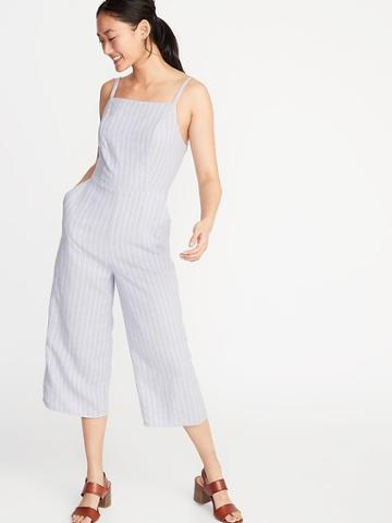 Striped Linen-blend Cami Jumpsuit For Women