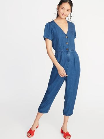 Chambray V-neck Button-front Jumpsuit For Women