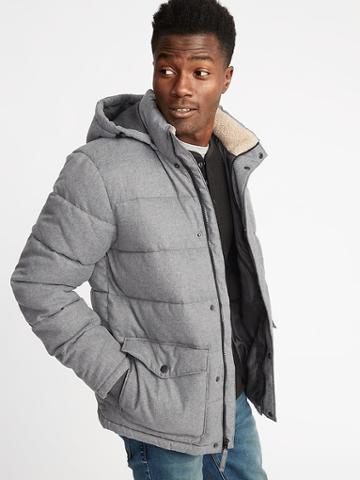 Old Navy Mens Quilted Detachable-hood Heritage Jacket For Men Gray Size M