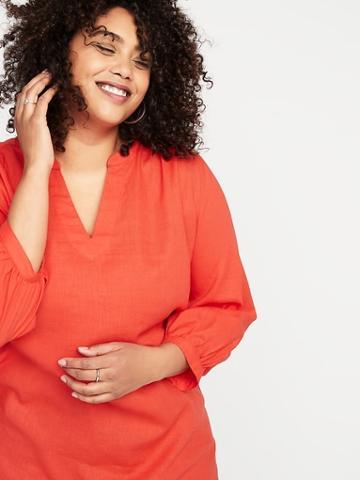 Linen-blend Plus-size Tunic