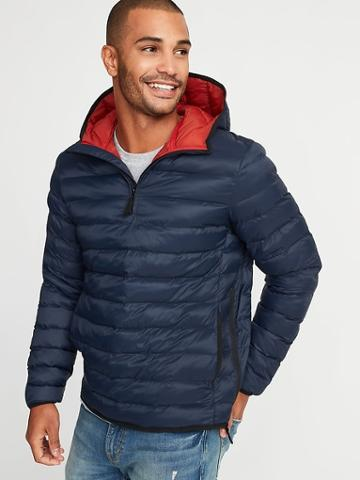Old Navy Mens Water-resistant Quilted 1/4-zip Hooded Jacket For Men In The Navy Size S