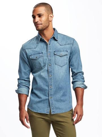 Old Navy Slim Fit Chambray Stretch Shirt For Men - Light Denim