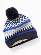 Old Navy Mens Patterned Pom-pom Beanie For Men Navy Blue Fair Isle Size One Size