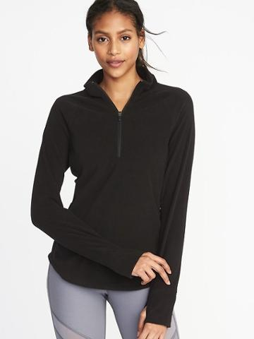 Old Navy Womens Micro Performance Fleece 1/4-zip Pullover For Women Black Size S