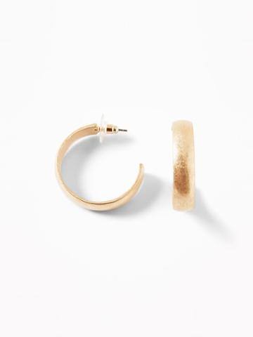 Gold-toned Metal Hoop Earrings For Women
