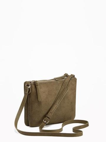 Old Navy Sueded Dual Zip Crossbody Bag For Women - Oregon Trail