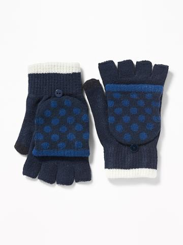 Old Navy Womens Convertible Flip-top Gloves For Women Blue Polka Dots Size One Size
