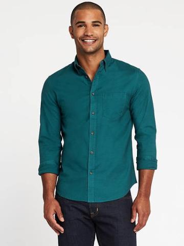 Old Navy Slim Fit Built In Flex Oxford Shirt For Men - Twilight Tide