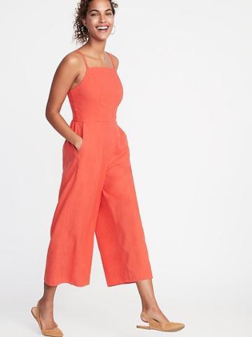 Square-neck Linen-blend Jumpsuit For Women
