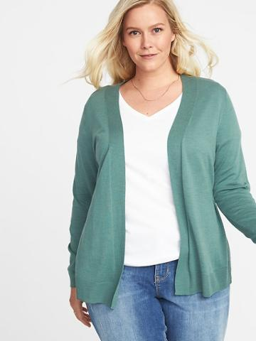 Plus-size Open-front Sweater