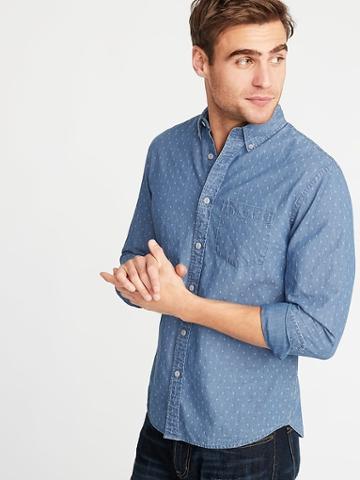 Old Navy Mens Slim-fit Printed Dobby Shirt For Men Light Indigo Size L