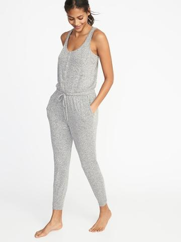 Old Navy Womens Relaxed Plush-knit Sleep Jumpsuit For Women Gray Size Xs