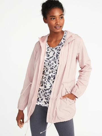 Old Navy Womens Go-h2o Water-resistant Hooded Anorak For Women Apple Blossom Size S