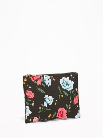 Old Navy Womens Printed Canvas Cosmetics Bag For Women Black Wheat Floral Size One Size