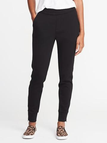 Old Navy Double Knit Track Trousers For Women - Black