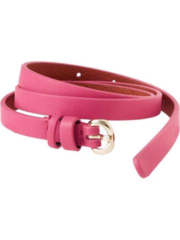 Old Navy Womens Skinny Faux Leather Belts Size L/xl - For Our Fuchsia