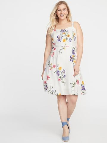 Plus-size Fit & Flare Floral Cami Dress