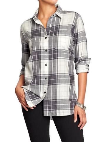 Old Navy Womens Plaid Flannel Boyfriend Shirts - White/grey Plaid