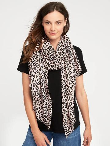 Old Navy Lightweight Printed Scarf For Women - Pink Leopard