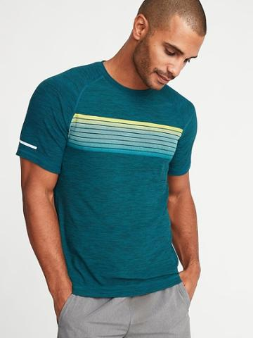 Old Navy Mens Breathe On Go-dry Stripe-graphic Tee For Men Galactic Size Xl