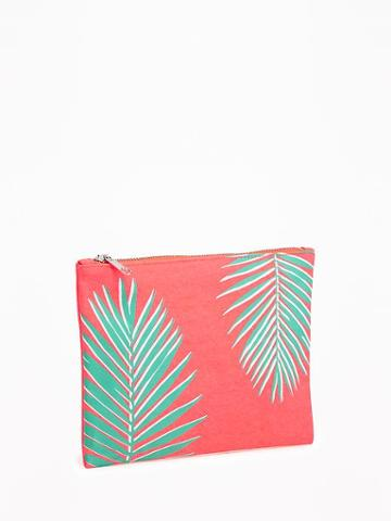 Old Navy Printed Cosmetic Bag - Neon Palms Nylon