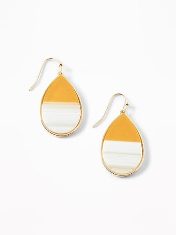 Two-tone Teardrop Earrings For Women