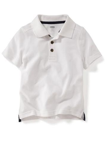 Old Navy Short Sleeve Pique Polos - White