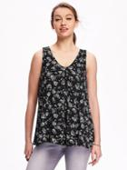 Old Navy Swing Vneck Top For Women - Black Print