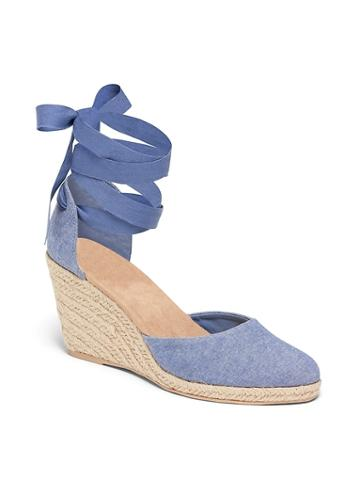 Chambray Espadrille Wedges For Women