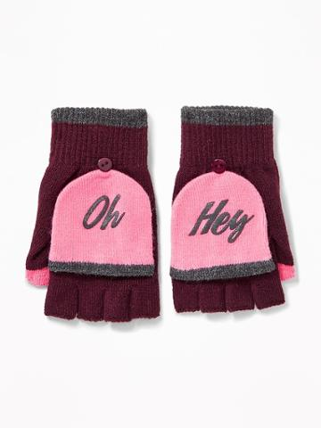 Old Navy Womens Convertible Flip-top Gloves For Women Lite Burgundy Size One Size