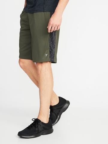 Old Navy Mens Go-dry Side-panel Performance Shorts For Men - 10-inch Inseam Green Camo - 10-inch Inseam Green Camo Size Xl